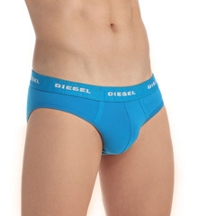 """HisRoom Diesel S7T4JAHG Andry Brushed Microfiber Underpants Brief (45649) A sparkly Diesel logo trims the waistband on this soft, microfiber brief. Made of nylon and spandex. Exposed elastic waistband has """"Only The Brave"""" saying with the repeating logo over it. Lined, contour pouch with vertical seaming for support. 4-way stretch for comfort. Seamless seat. Fabric/care tag attached at inner center of waistband. Flyless."""