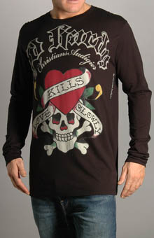 Ed Hardy A9DCAUZL Love Kills Slowly Outline Logo LS T-Shirt at Sears.com