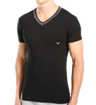 Grey Insert Stretch Cotton V-Neck Image
