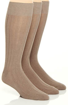 Florsheim Socks Fashion Basics Solid Rib Socks - 3 Pack W720UHR