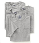 Mens Core 100% Cotton Grey Pocket Tee - 4 Pack Image