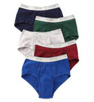 Mens Assort Mid Rise 100% Cotton Briefs - 5 Pack Image