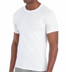 Hanes 7870W6 Premium Cotton White Crew Neck T-Shirts - 6 Pack