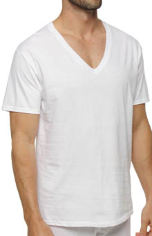 Hanes 7880W3 White V-Neck T-Shirt - 3 Pack