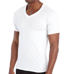 Hanes 7880W6 Premium Cotton White V-Neck T-Shirts - 6 Pack