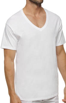 Hanes 7880W6 White V-Neck T-Shirts - 6 Pack