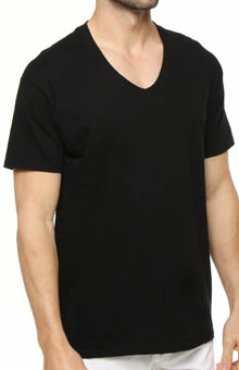 Hanes 7883B3 Black V-Neck T-Shirts - 3 Pack