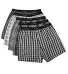 Cotton Woven Blue-Black Yarn Dyed Boxers - 5 Pack Image