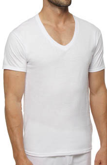 Hanes CST2W3 Slim Fit White V-Neck T-Shirt