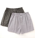 Woven Boxer in White Plaid/Grey Paisley - 2 Pack Image