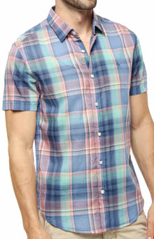 Original Penguin Short Sleeve Multicolor Plaid Heritage Fit Shirt FMW0023