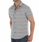 Short Sleeve Horizontal Stripe Woven Shirt Image