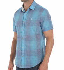 Original Penguin Short Sleeve Cotton Lawn Plaid Woven Shirt OPWM402