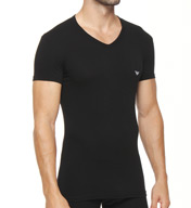 Emporio Armani Eagle Stretch Cotton V-Neck T-Shirt 111274Y