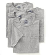 Fruit Of The Loom Mens Core 100% Cotton Grey Pocket Tee - 4 Pack 4P30LA1