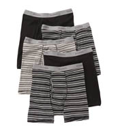 Hanes Premium Cotton Solid-Stripe Boxer Briefs - 5 Pack 76925S