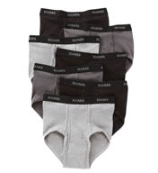 Hanes Black/Grey Full Rise Briefs - 7 Pack 7764B7