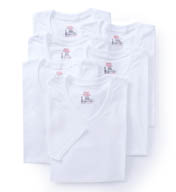 Hanes Premium Cotton White V-Neck T-Shirts - 6 Pack 7880W6