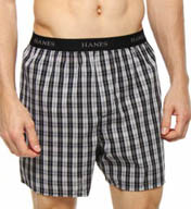 Hanes Cotton Woven Blue-Black Yarn Dyed Boxers - 5 Pack 798BP5