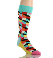 Happy Socks Combed Cotton Filled Optic Crew Sock FO01-073