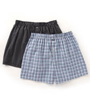 Michael Kors Woven Boxer in Blue Plaid & Navy Stripe - 2 Pack 09M1052