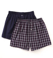 Michael Kors Woven Boxer in Blue Plaid & White Dots - 2 Pack 09M1055