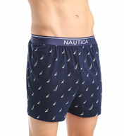 Nautica 100% Cotton Sailboat Print Knit Boxer KB06F5