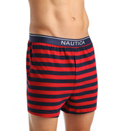 Nautica 100% Cotton Stripe Knit Boxer KB07F5