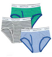 Nautica Assorted Striped Full Cut Briefs - 3 Pack UR3415