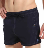 Nero Perla Corfu Long Swim Short with Side Pockets 17382