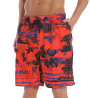 Newport Blue Permanent Vacation Palm Tree Print Swim Trunks 35P0408