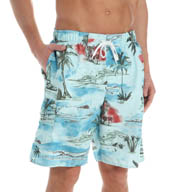 Newport Blue Off The Coast Sailboat Print Swim Trunks 35P0445