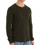 Original Penguin Worrel Waffle Knit Long Sleeve Henley Shirt OPK4310