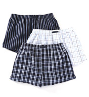 Perry Ellis Plaid & Stripes Assorted Woven Boxers - 3 Pack 879765