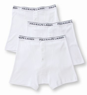Polo Ralph Lauren Button Fly 100% Cotton Boxer Briefs - 3 Pack LCBN