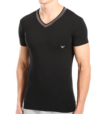 Emporio Armani Grey Insert Stretch Cotton V-Neck
