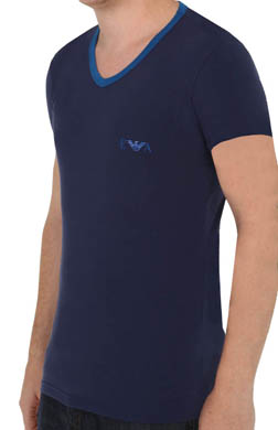 Emporio Armani Contrast Stretch Cotton V-Neck T-Shirt