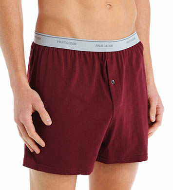 Fruit Of The Loom Mens 100% Core Cotton Assort Knit Boxers- 3 Pack