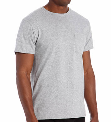 Fruit Of The Loom Mens Core 100% Cotton Grey Pocket Tee - 4 Pack