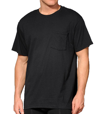 Fruit Of The Loom Big Man Core 100% Cotton Black Pocket Tee - 4 Pack