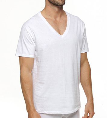Hanes Premium Cotton White V-Neck T-Shirts - 3 Pack