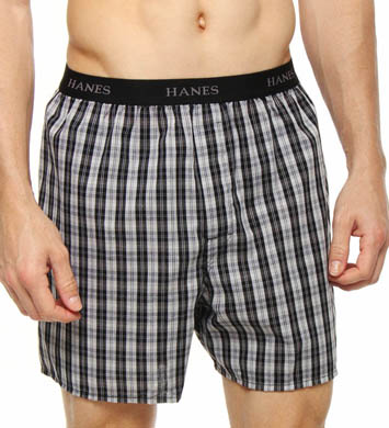 Hanes Cotton Woven Blue-Black Yarn Dyed Boxers - 5 Pack
