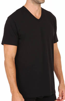 Kenneth Cole Reaction REAL COOL Stretch Cotton V-Neck T-Shirts - 2Pk