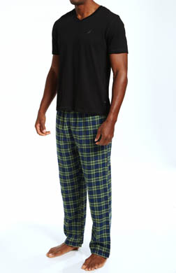 Nautica Pajama Set w/ V-Neck Tee and Flannel Pants