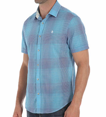 Original Penguin Short Sleeve Cotton Lawn Plaid Woven Shirt