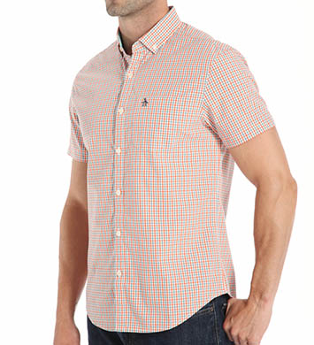 Original Penguin Short Sleeve Tri-Color Gingham Woven Shirt