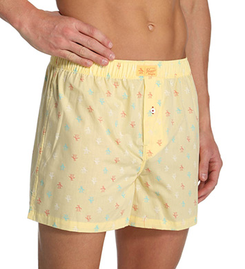 Original Penguin Signature Penguin 100% Cotton Woven Button Boxer