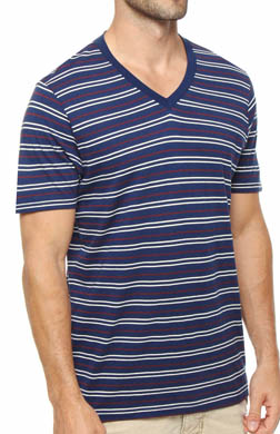 Pact Americana Stripe V-Neck T-Shirt