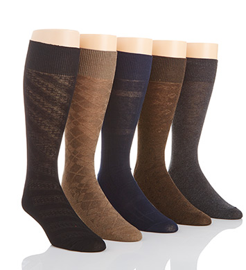 Perry Ellis Premium Cotton Blend Grid Dress Socks - 5 Pack