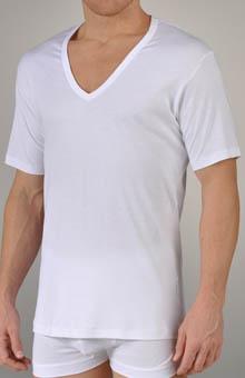 Zimmerli Sea Island V-Neck Short Sleeve T-Shirt